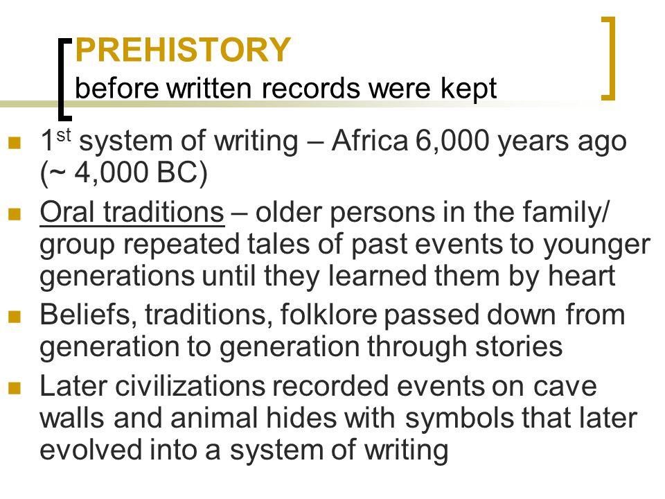 PREHISTORY before written records were kept