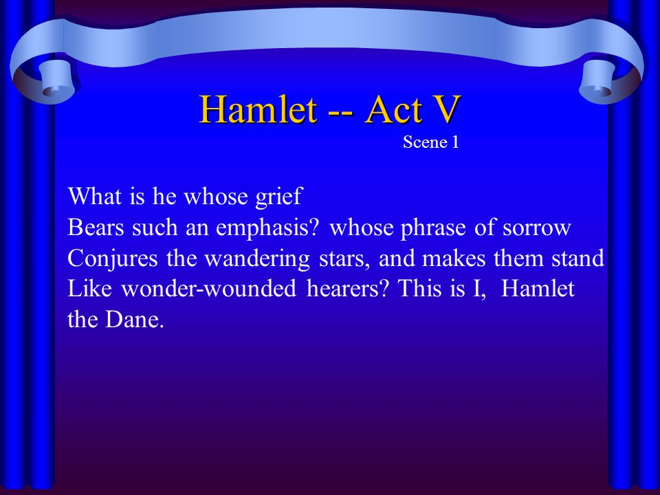 Hamlet -- Act V What is he whose grief