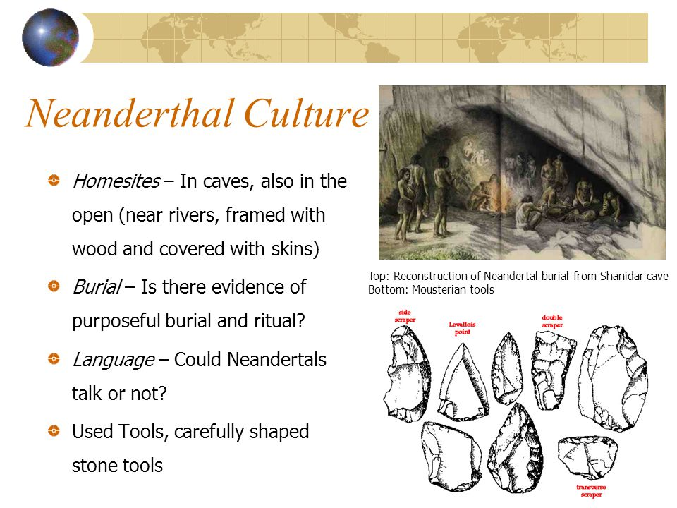 Neanderthal Culture Homesites – In caves, also in the open (near rivers, framed with wood and covered with skins)
