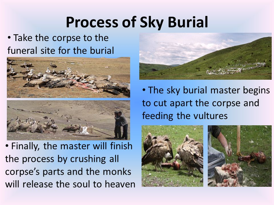 Process of Sky Burial Take the corpse to the funeral site for the burial.