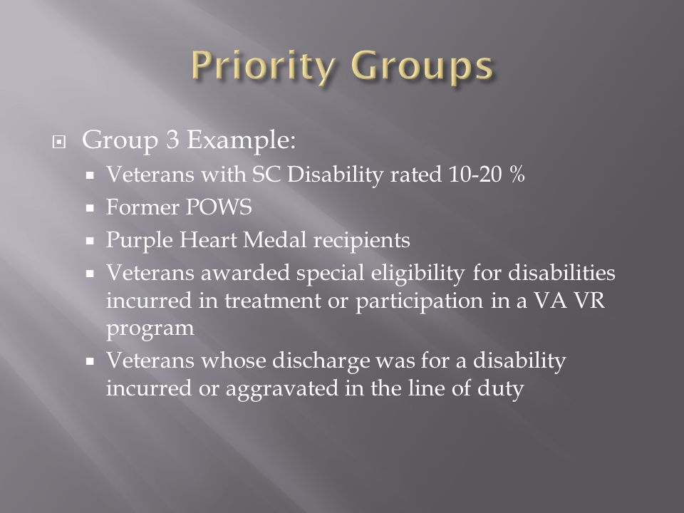 Priority Groups Group 3 Example: