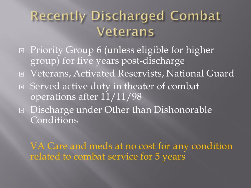 Recently Discharged Combat Veterans