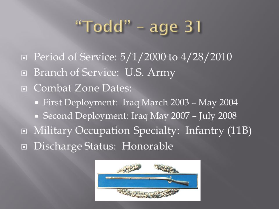 Todd – age 31 Period of Service: 5/1/2000 to 4/28/2010