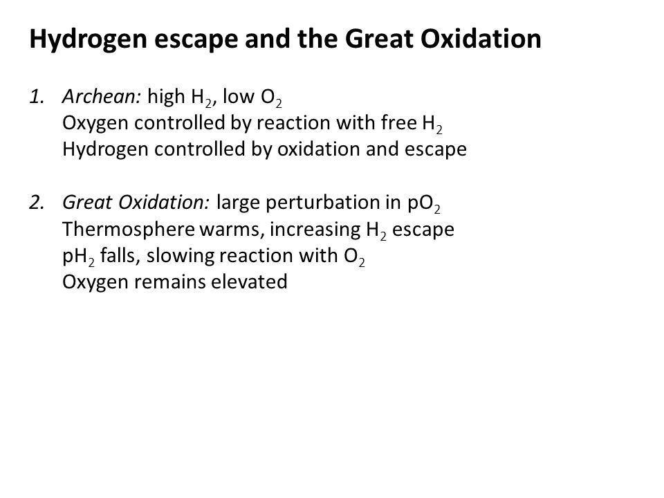Hydrogen escape and the Great Oxidation