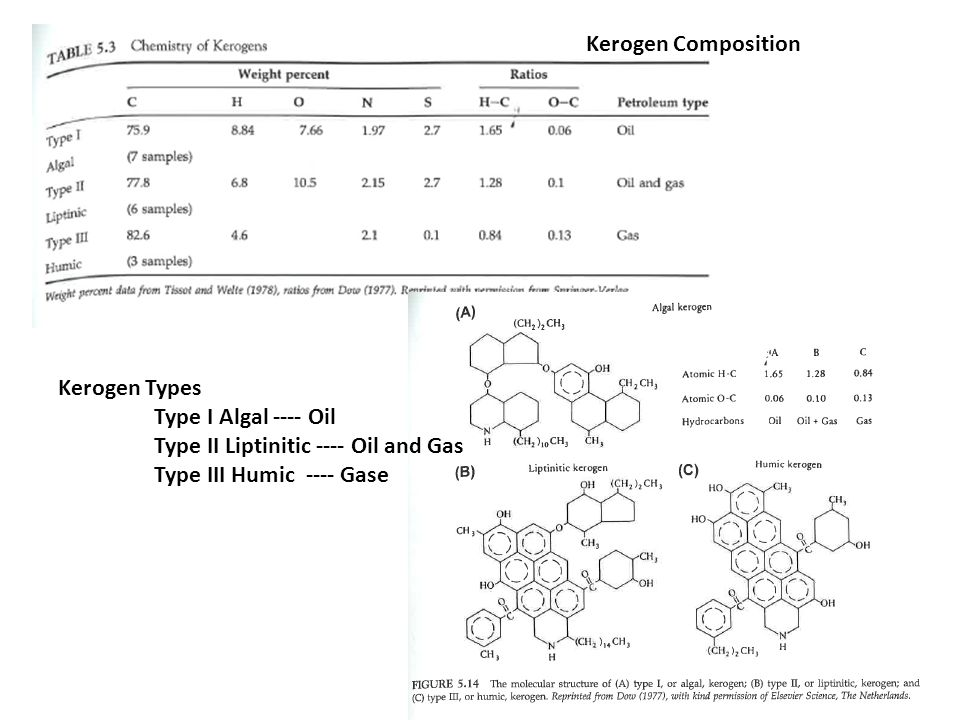 Kerogen Composition Kerogen Types. Type I Algal ---- Oil.