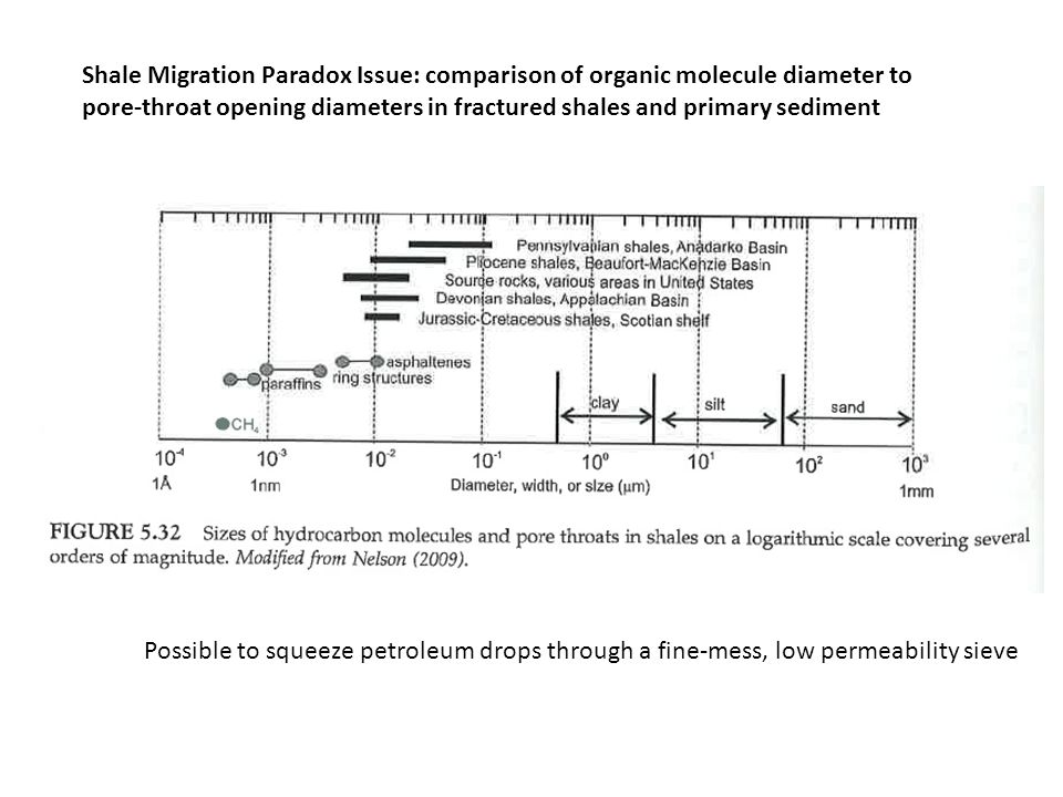 Shale Migration Paradox Issue: comparison of organic molecule diameter to