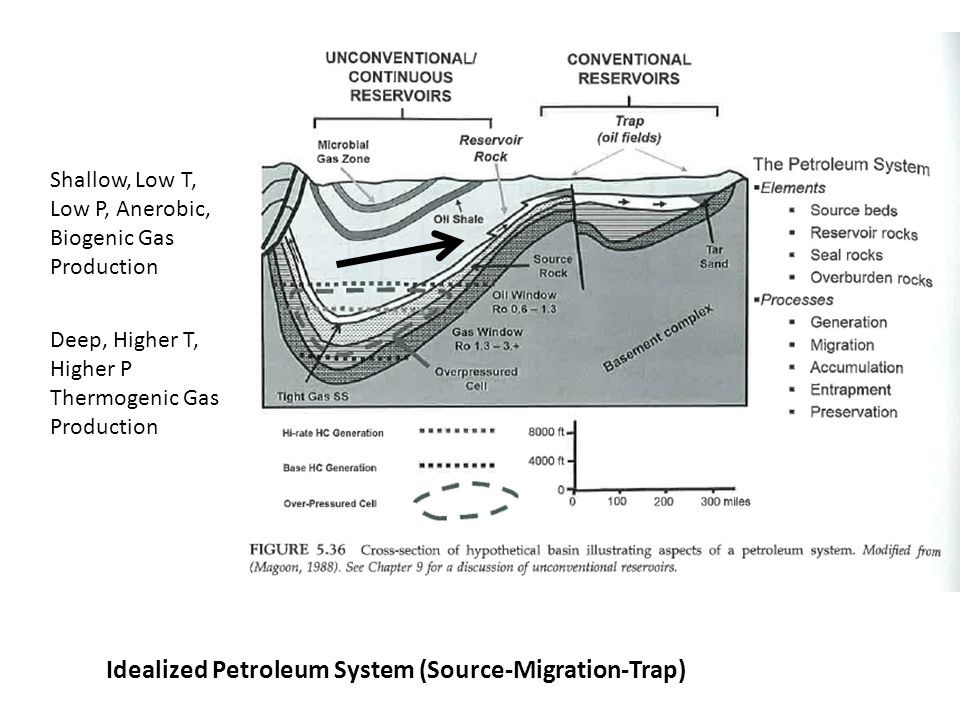 Idealized Petroleum System (Source-Migration-Trap)