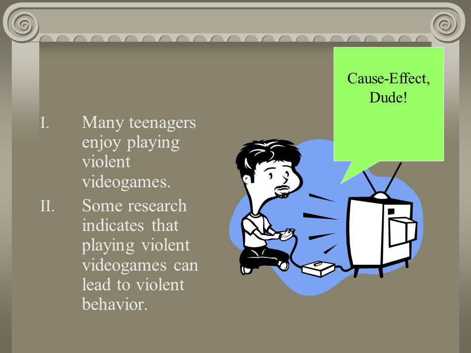 Many teenagers enjoy playing violent videogames.