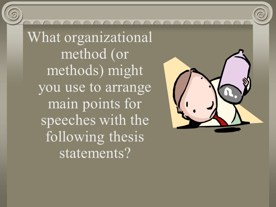 What organizational method (or methods) might you use to arrange main points for speeches with the following thesis statements