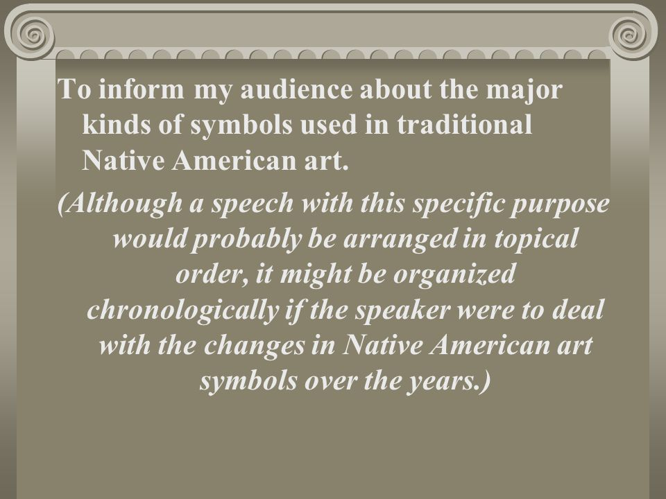 To inform my audience about the major kinds of symbols used in traditional Native American art.