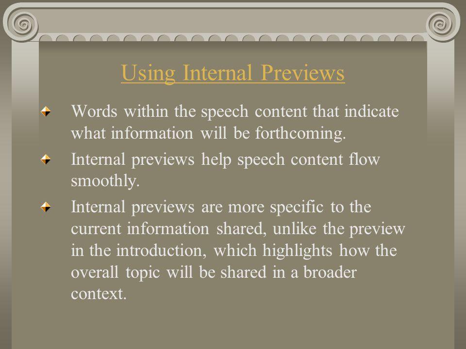Using Internal Previews