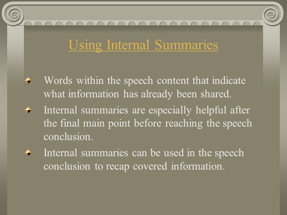 Using Internal Summaries