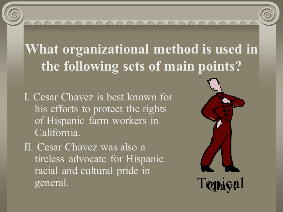 What organizational method is used in the following sets of main points