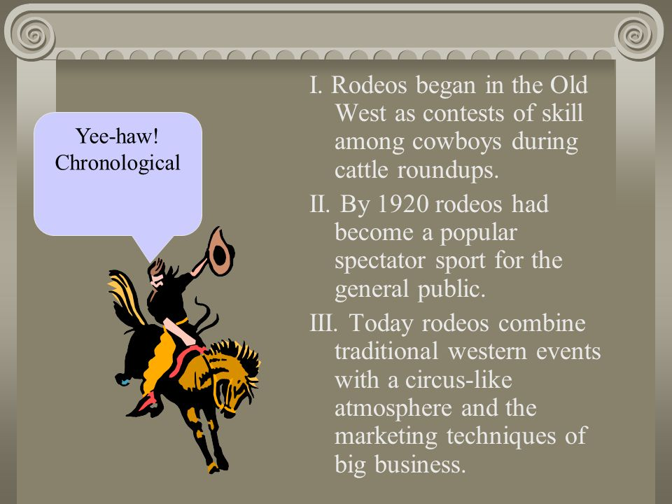 I. Rodeos began in the Old West as contests of skill among cowboys during cattle roundups.