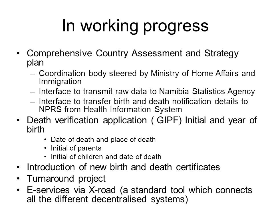 In working progress Comprehensive Country Assessment and Strategy plan