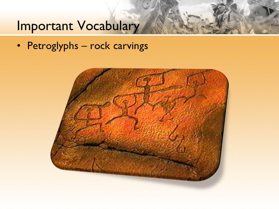 Important Vocabulary Petroglyphs – rock carvings