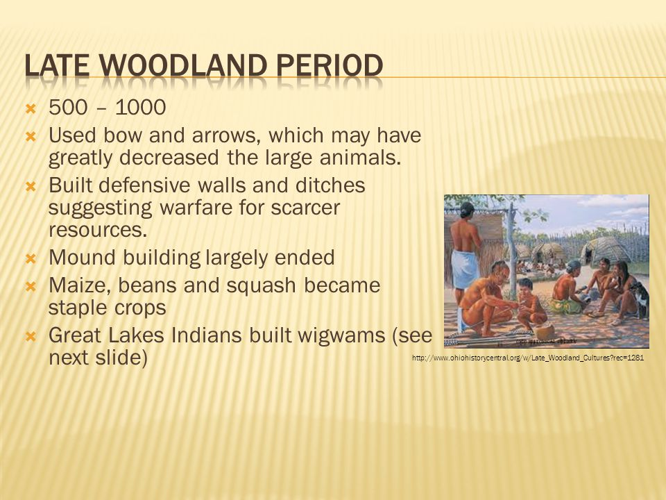 Late Woodland PERIOD 500 – 1000. Used bow and arrows, which may have greatly decreased the large animals.