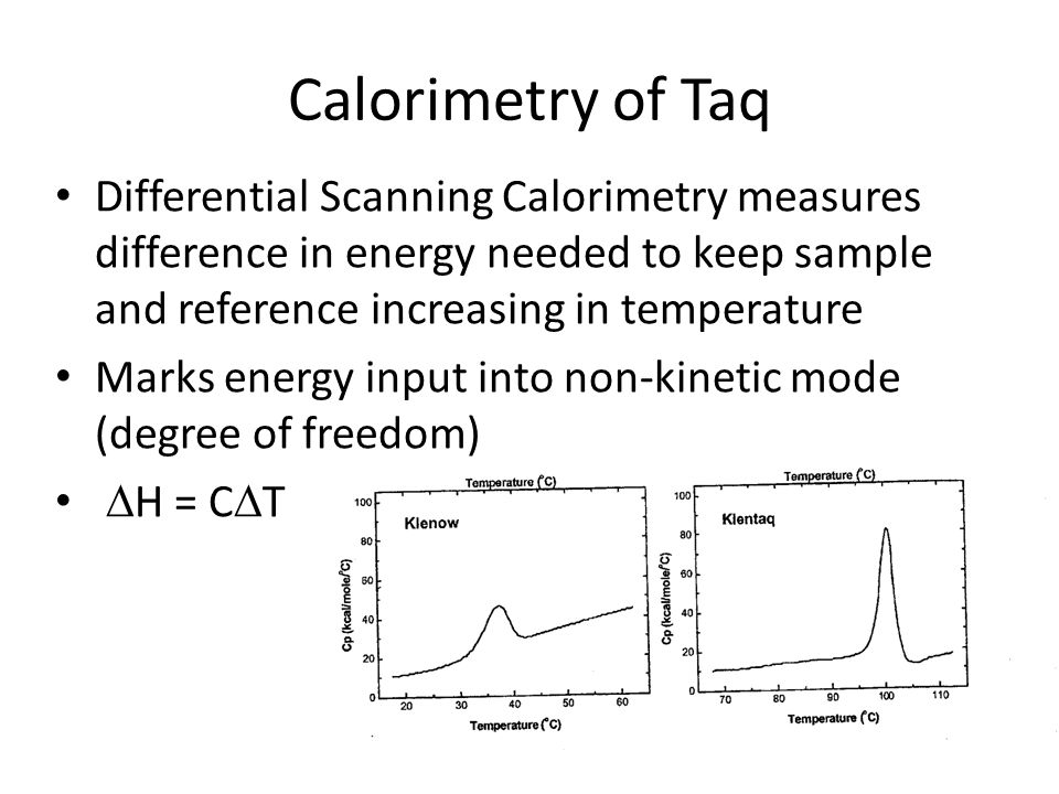 Calorimetry of Taq Differential Scanning Calorimetry measures difference in energy needed to keep sample and reference increasing in temperature.