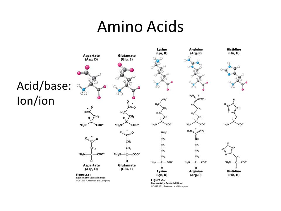 Amino Acids Acid/base: Ion/ion