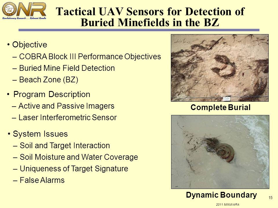 Tactical UAV Sensors for Detection of Buried Minefields in the BZ