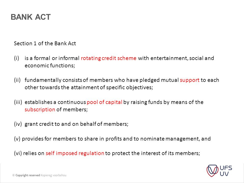 BANK ACT Section 1 of the Bank Act