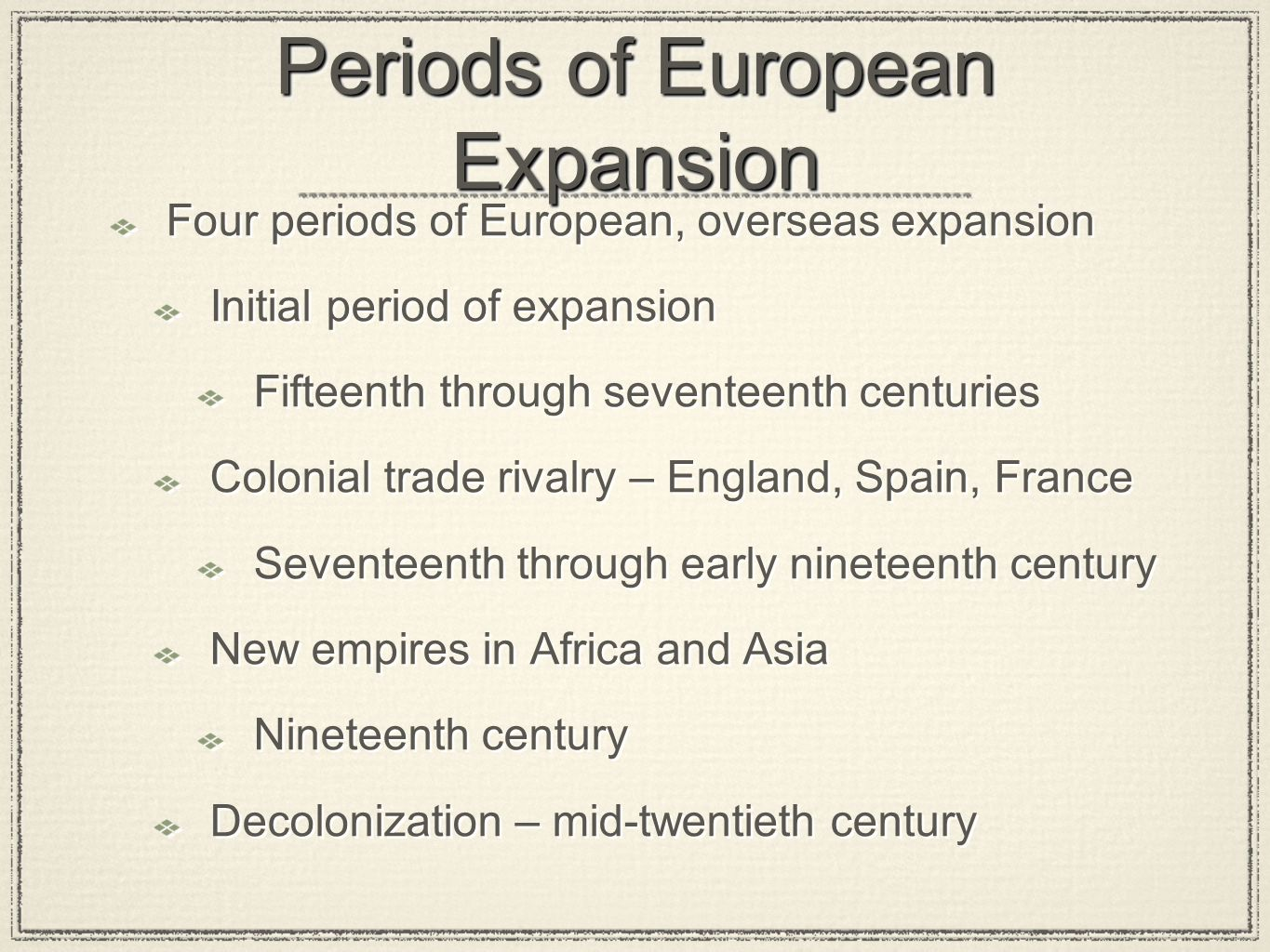 Periods of European Expansion