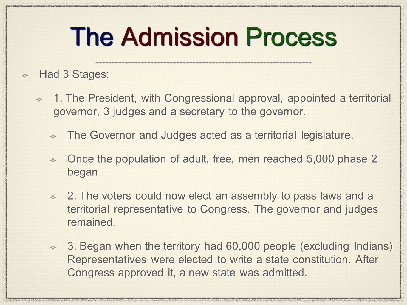 The Admission Process Had 3 Stages: