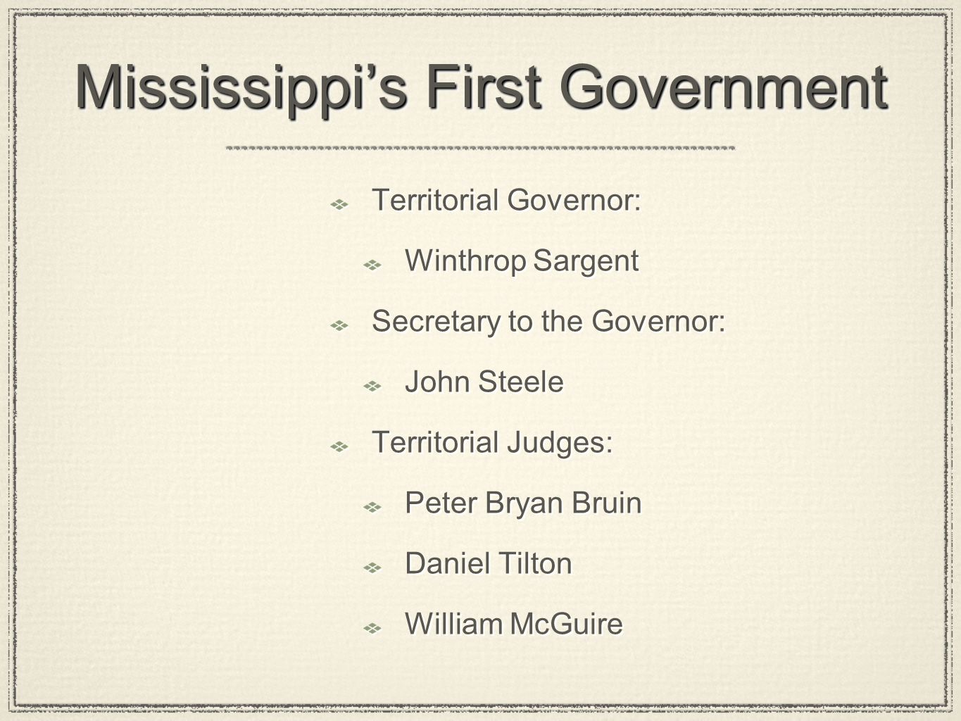 Mississippi's First Government