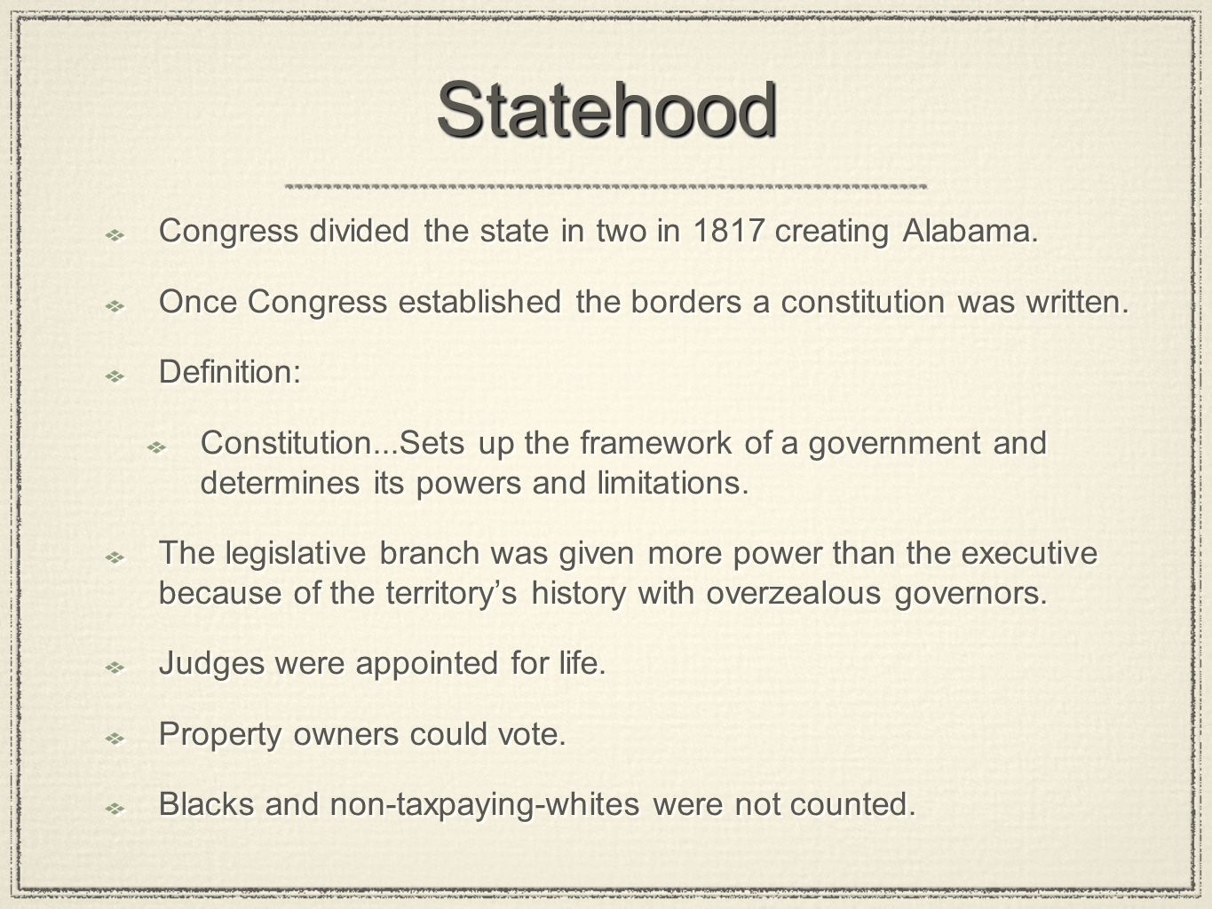 Statehood Congress divided the state in two in 1817 creating Alabama.
