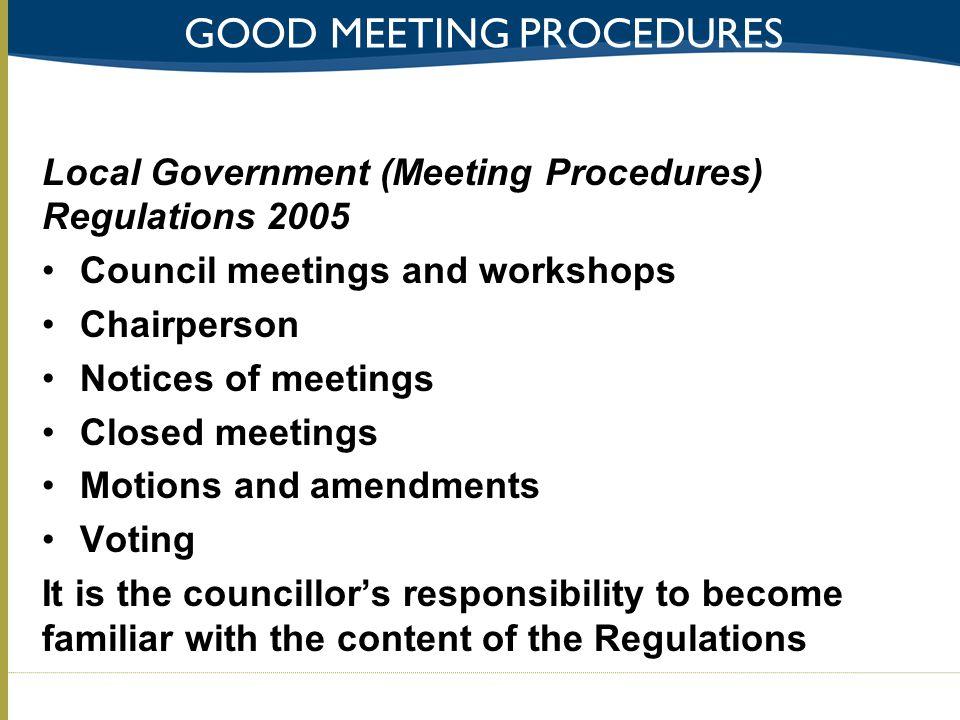 Good meeting procedures