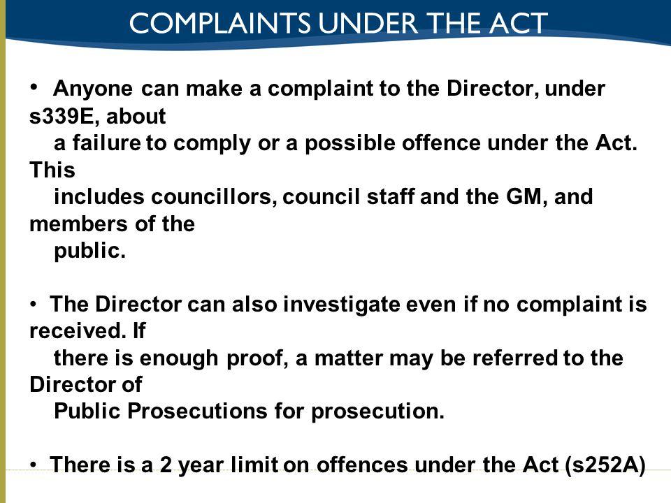 Complaints under The act