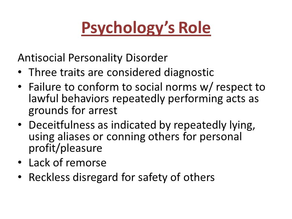 Psychology's Role Antisocial Personality Disorder