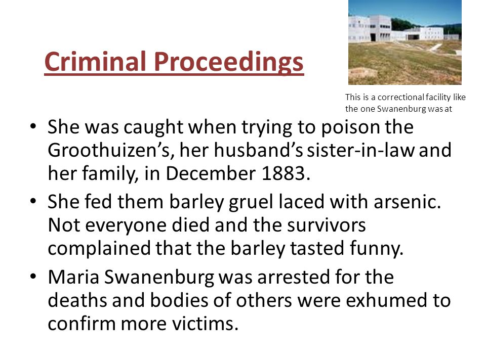 Criminal Proceedings This is a correctional facility like the one Swanenburg was at.