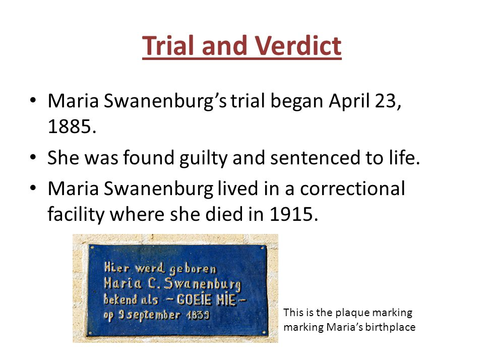 Trial and Verdict Maria Swanenburg's trial began April 23, 1885.