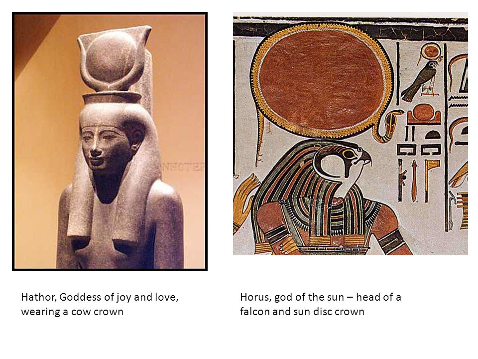 Hathor, Goddess of joy and love, wearing a cow crown