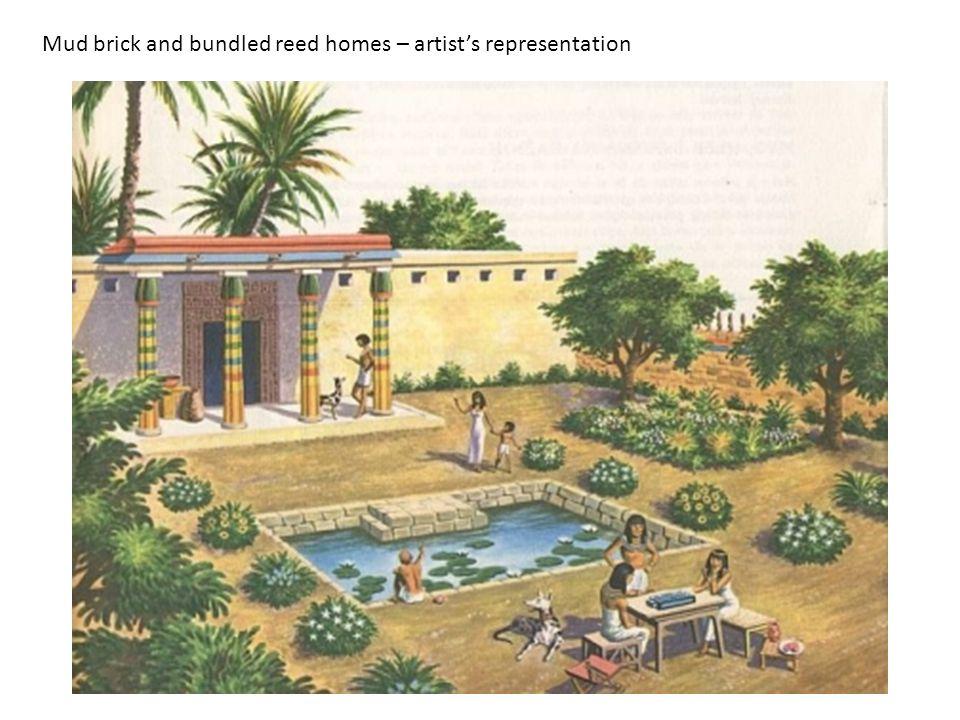 Mud brick and bundled reed homes – artist's representation