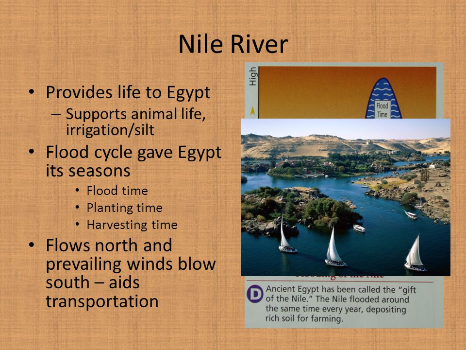 Nile River Provides life to Egypt Flood cycle gave Egypt its seasons