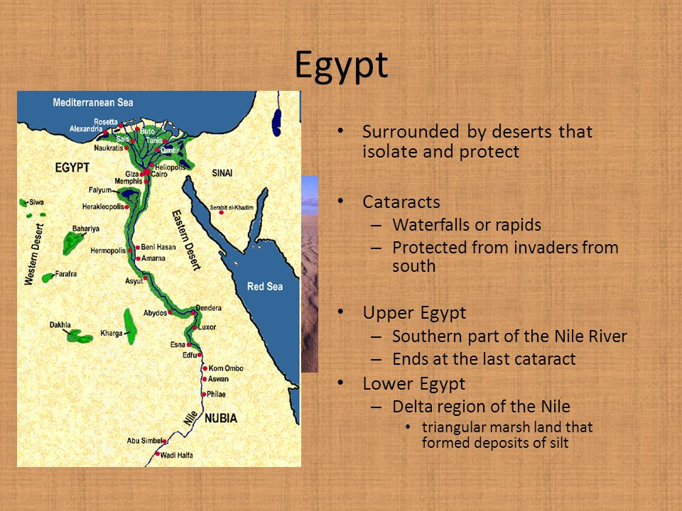 Egypt Surrounded by deserts that isolate and protect Cataracts