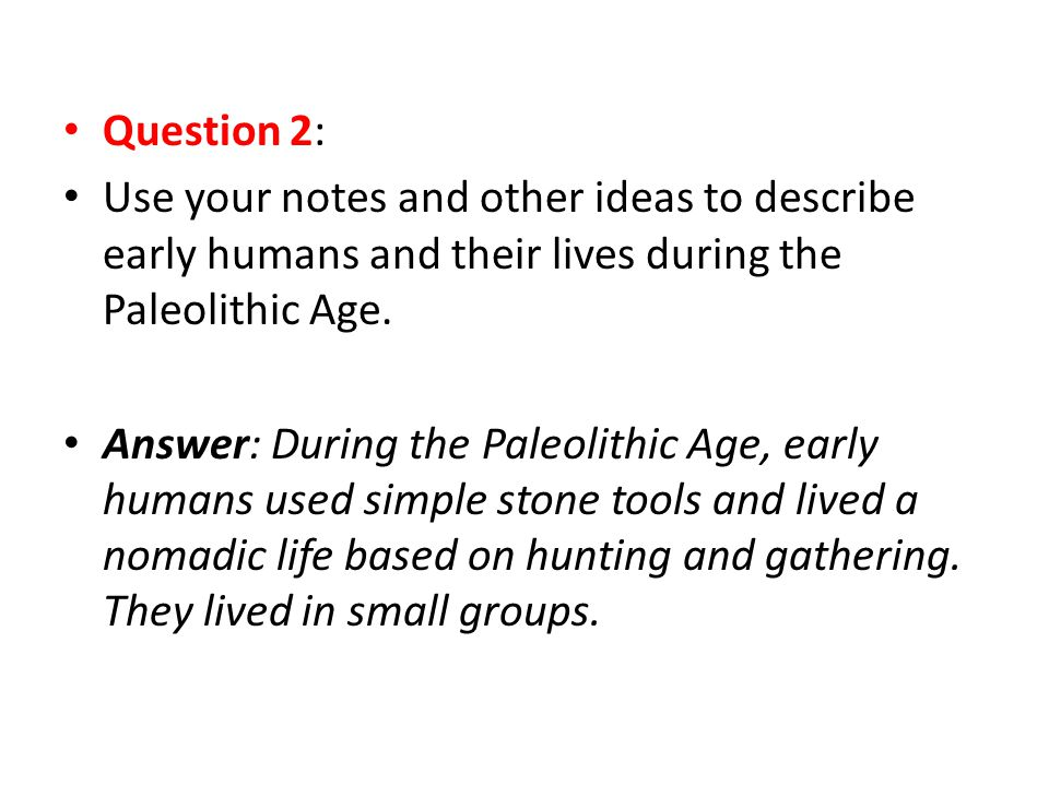 Question 2: Use your notes and other ideas to describe early humans and their lives during the Paleolithic Age.