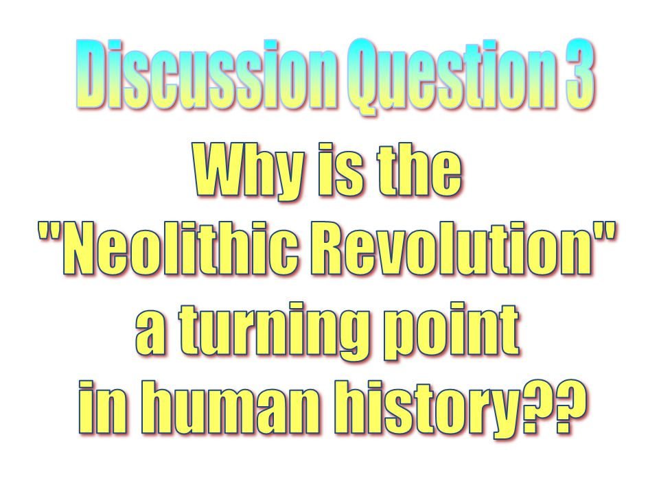 Discussion Question 3 Why is the Neolithic Revolution a turning point in human history