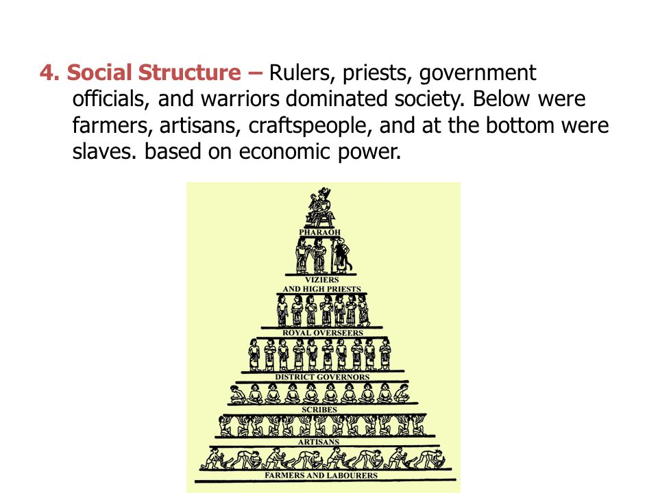 4. Social Structure – Rulers, priests, government officials, and warriors dominated society.