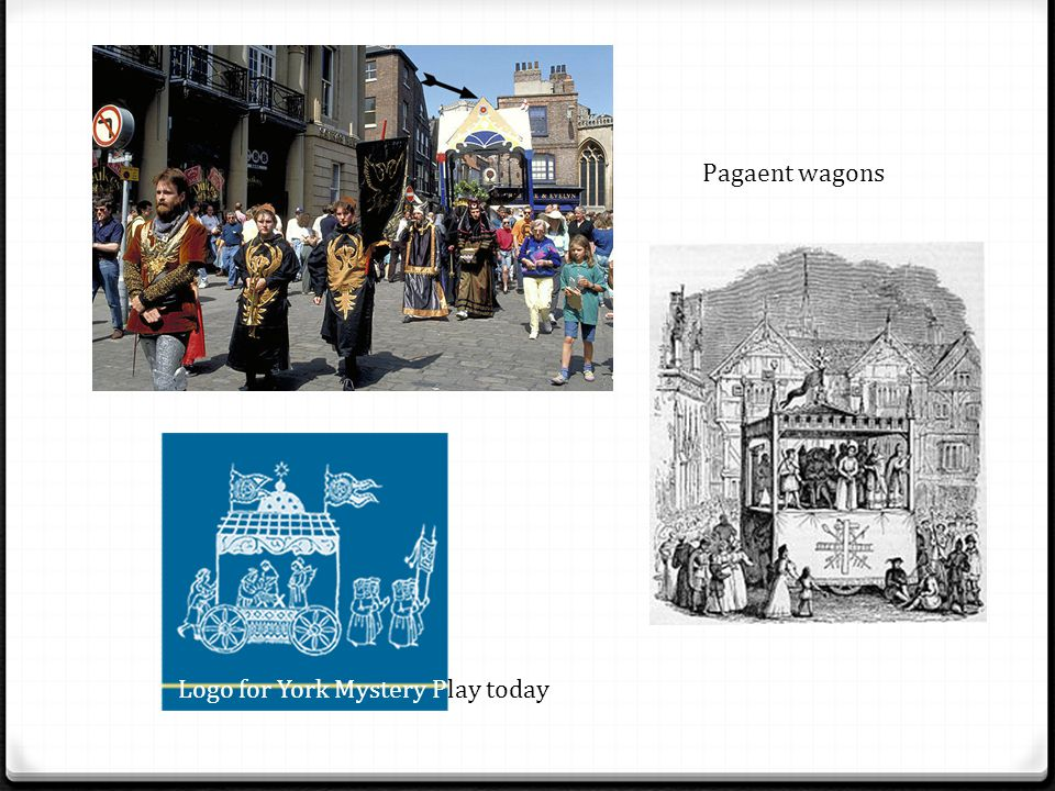 Pagaent wagons Logo for York Mystery Play today