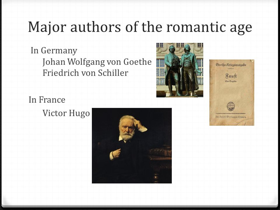 Major authors of the romantic age