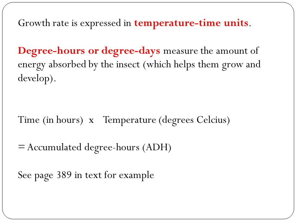 Growth rate is expressed in temperature-time units.