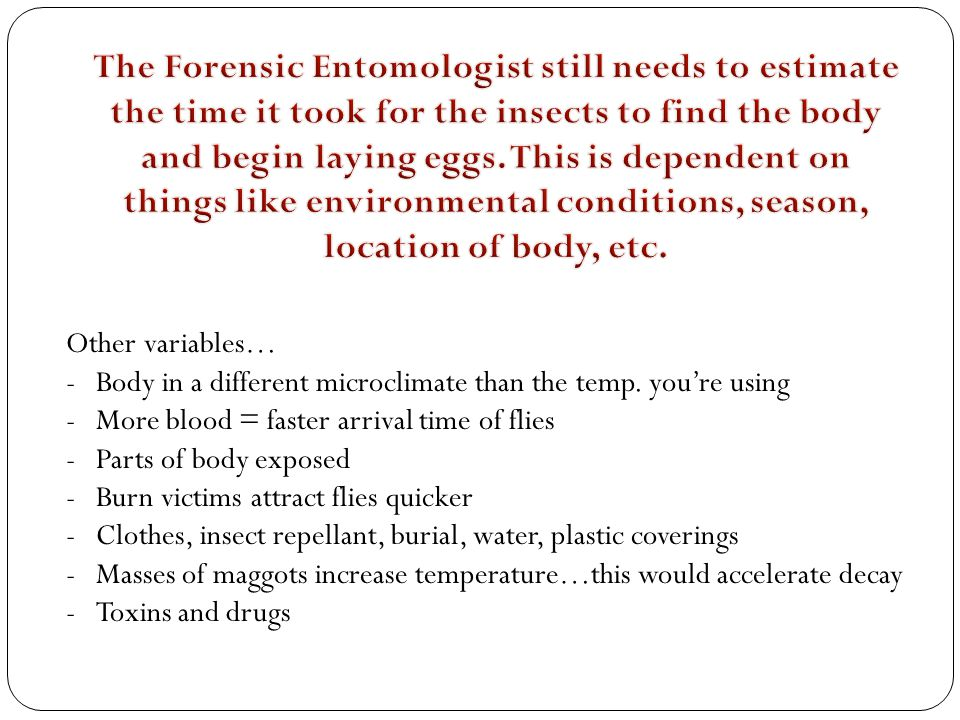 The Forensic Entomologist still needs to estimate the time it took for the insects to find the body and begin laying eggs. This is dependent on things like environmental conditions, season, location of body, etc.