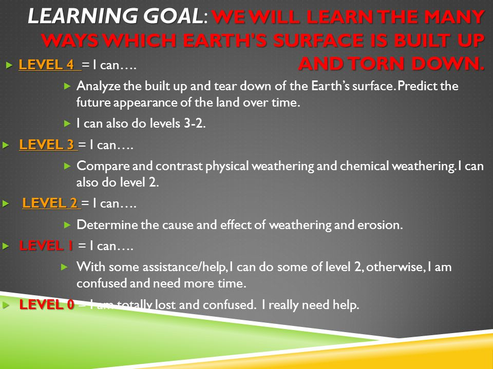 Learning Goal: We will learn the many ways which Earth s surface is built up and torn down.