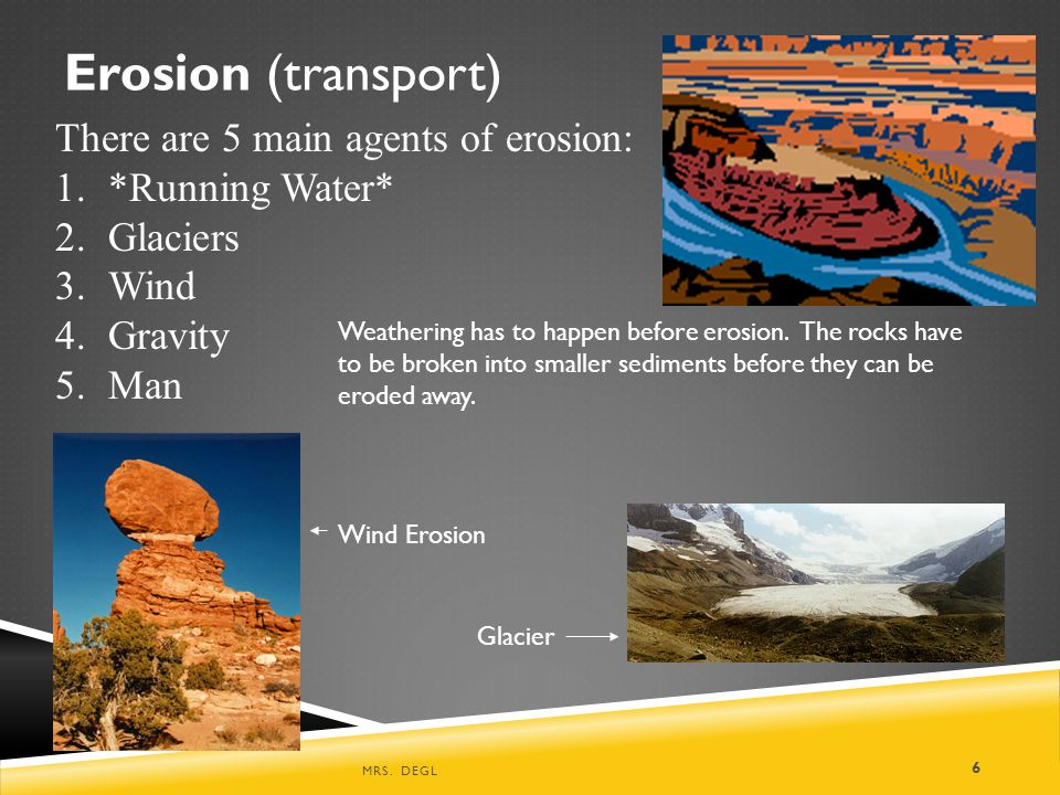 Erosion (transport) There are 5 main agents of erosion:
