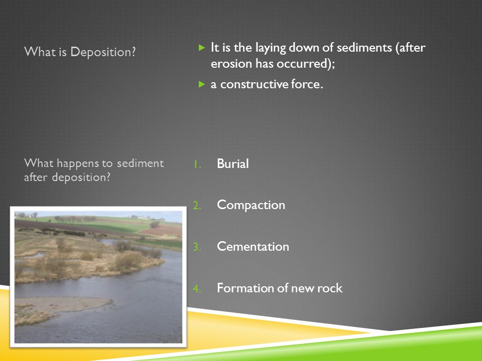 It is the laying down of sediments (after erosion has occurred);