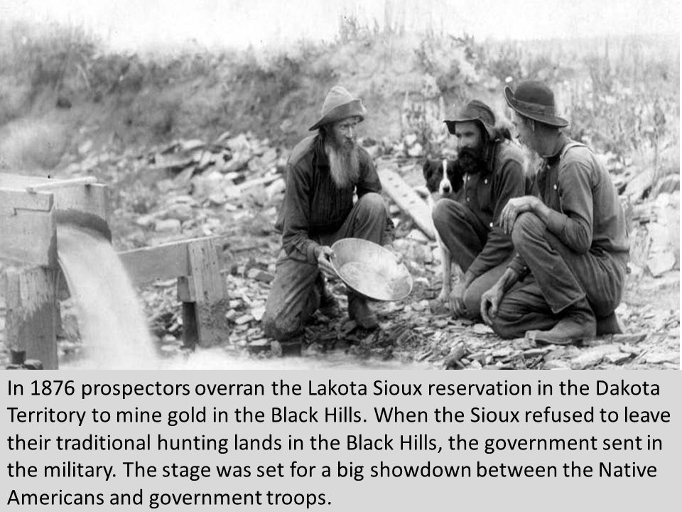 In 1876 prospectors overran the Lakota Sioux reservation in the Dakota Territory to mine gold in the Black Hills.