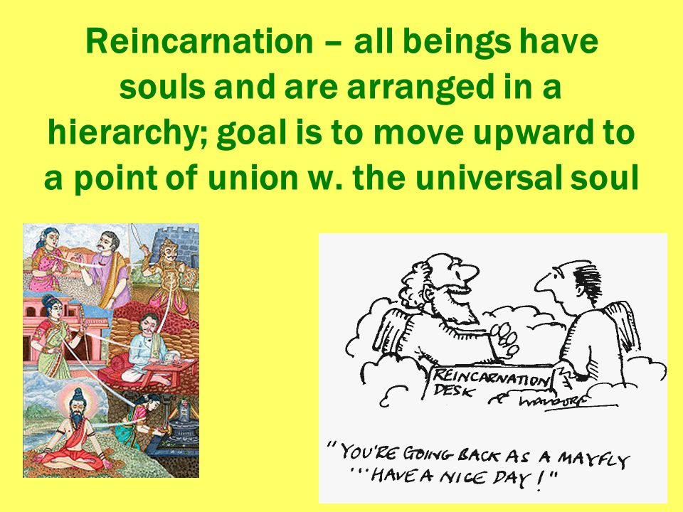 Reincarnation – all beings have souls and are arranged in a hierarchy; goal is to move upward to a point of union w.